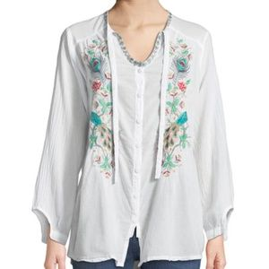 Johnny Was Women Blouse Peacock Embroidered